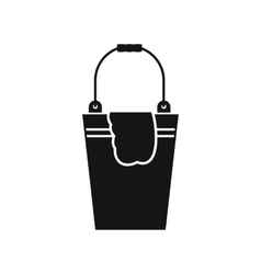 Bucket and rag icon simple style vector
