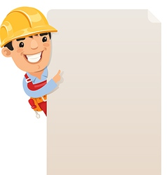 builder looking at blank poster vector image vector image
