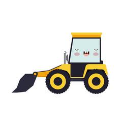 bulldozer flat icon colorful kawaii silhouette vector image vector image