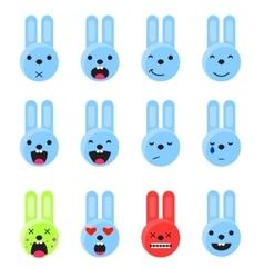 Bunny smile emoji set emoticon icon flat style vector