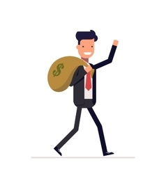 Businessman or manager comes with a bag of money vector image