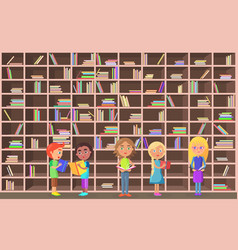 children holds literature on library background vector image vector image