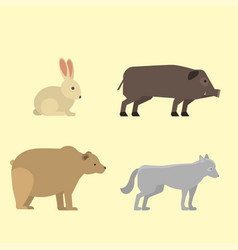 Different wild animals dangerous vertebrate canine vector