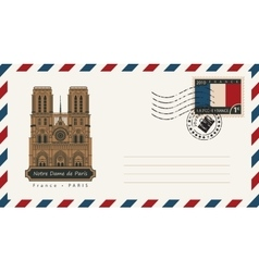 Envelope with notre dame de paris vector