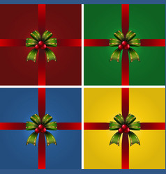 four present boxes with green ribbons vector image