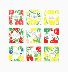 fruit cards collection original design posters vector image