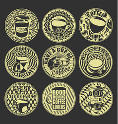 Good morning coffee lovers vintage retro labels vector