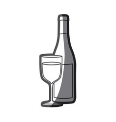 grayscale silhouette with bottle of wine and glass vector image vector image