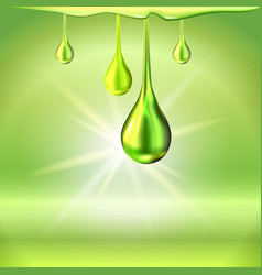 Green oil drops shiny sparkles vector