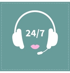 Headphones with microphone pink lips non stop 24 7 vector