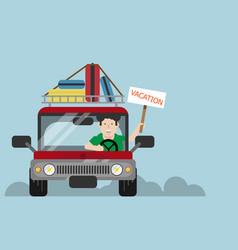 man driving car to vacation vector image vector image