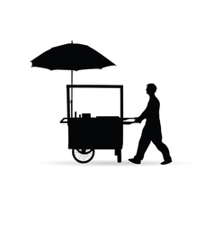 Man sold hot dog silhouette vector