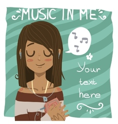 Music in me postcard vector image