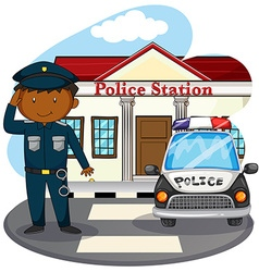Policeman saluting in front of police station vector