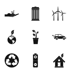 Purity of nature icons set simple style vector