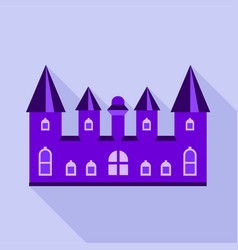 Purple kingdom palace icon flat style vector