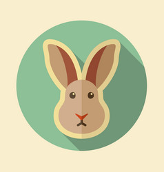 rabbit flat icon animal head vector image vector image
