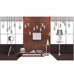 Realistic loft interior with hanging lamps vector