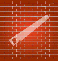 Saw simple sign whitish icon on brick vector