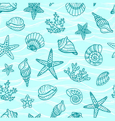 seamless pattern with doodle sea creatures vector image
