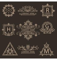 Set monogram ornamental logos emblem vector image vector image