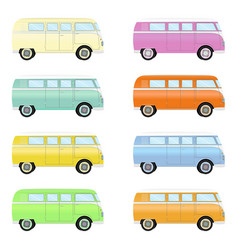 Set of colorful retro travel buses cartoon hippie vector