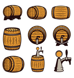set of hand drawn wood barrels isolated on white vector image vector image