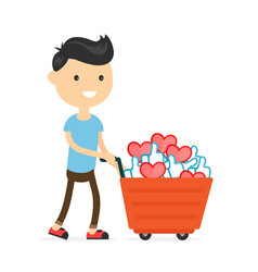 smiling happy young man with a cart vector image