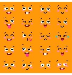 Square emoticon emoji set of colorful emoticons vector image