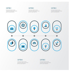 Summer colorful icons set collection of flip flop vector
