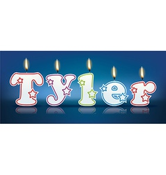 Tyler written with burning candles vector