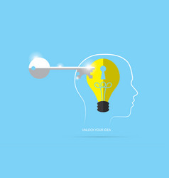 unlock lightbulb master key with head outline vector image vector image