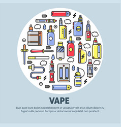 Vape shop advertisement with modern devices for vector