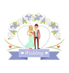 Wedding bride and groom poster vector