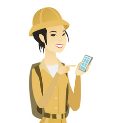 Young asian traveler holding a mobile phone vector