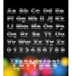 Transparent glass letters and digits vector