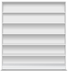 Supermarket blank shelf empty white long showcase vector
