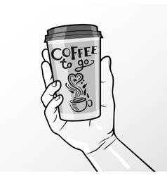 Coffee to go cup in hand composition vector