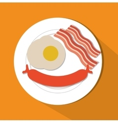 Sausage egg and bacon of fast food concept vector