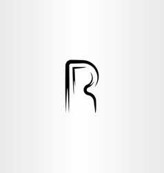 logo letter r black icon vector image