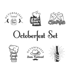 Set of Oktoberfest Labels - Beer Barrel Beer Mug vector image
