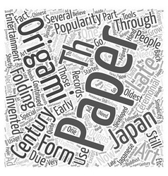 The Origins of Origami Word Cloud Concept vector image