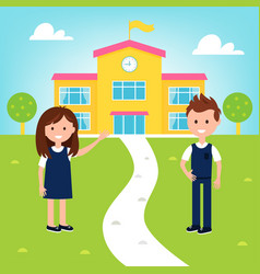 School poster with girl and boy wearing uniform vector