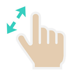 2 finger zoom in flat icon touch and gesture vector image