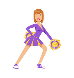 smiling girl dancing with purple and yellow vector image