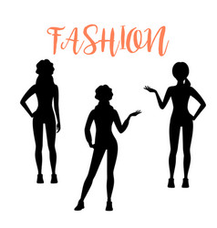 Fashion woman silhouette in sporty style vector