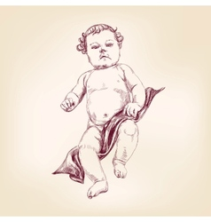 Baby in diapers hand drawn llustration vector