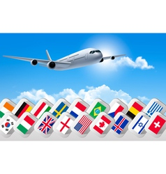 Airplane travel background with flags of different vector