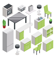 3d room design isometric furniture set for vector