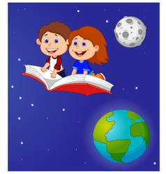 Boy and girl flying on a book vector